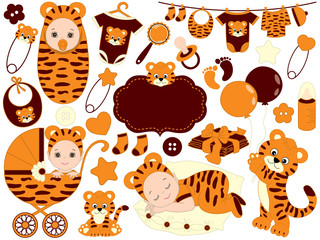 Vector Baby Set with Tiger Pattern.  Vector Baby Shower.