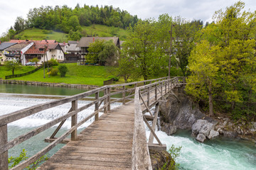 The Devil's Bridge, wooden footbridge in Skofja Loka, Slovenia
