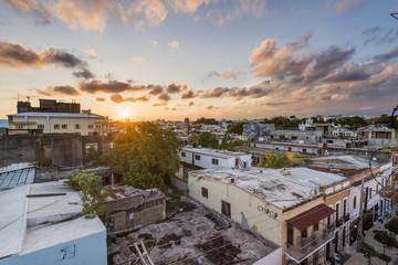 Colonial Zone (Ciudad Colonial), Santo Domingo, Dominican Republic. Cityscape at sunset.