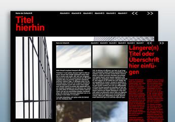 Dunkles Layout für digitale Zeitschriften