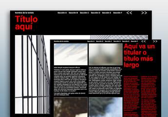 Diseño oscuro de revista digital