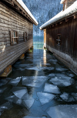 Ice boathouses at Königssee