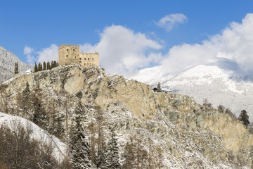 Castle of Ladis after a snowfall. Ladis, Inntal, Tirol, Osterreich, Europe
