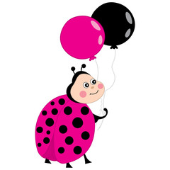 Vector Cute Ladybug Flying with Balloons. Vector ladybird.