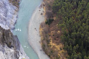 Rhine River seen from the top of the gorge. Rhein Gorge(Ruinaulta), Flims, Imboden, Graubunden, Switzerland, Europe