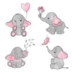 Set of cute cartoon baby elephants. Vector watercolor illustration.