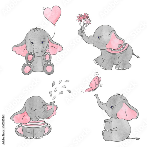 Set of cute cartoon baby elephants. Vector watercolor illustration.