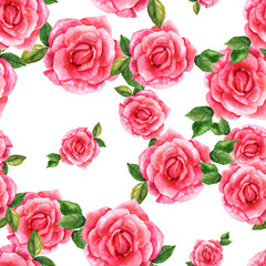 Seamless pattern with pink watercolor roses on white