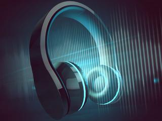 Kopfhörer vor blauem Hintergrund