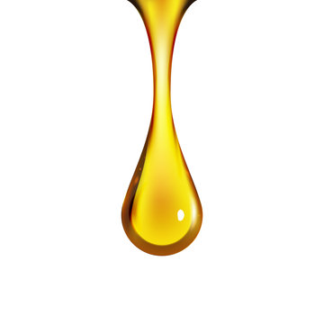 Golden oil drop isolated on white. Olive or fuel gold oil droplet concept. Liquid yellow sign
