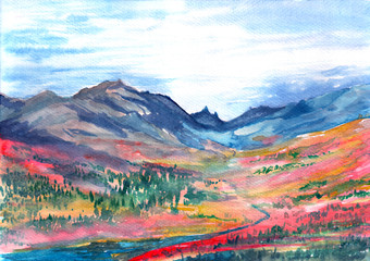 Hand drawn watercolor illustration. Landscape with mountains, river, sly