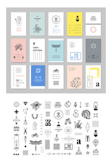 Set of different elements and shapes plus collection of universal cards. Templates with trendy geometric patterns and colors.Hipster symbols and logotypes. Geometric, alchemy, decor items.