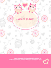 Background with owl flowers and hearts cute drawn vector. The frame is round, contoured, transparent.