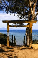Japanese shinto gateway leading down to Leadbetter Beach in Santa Barbara CA, USA