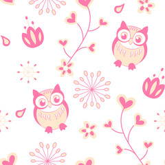 seamless pattern with owl vector illustration