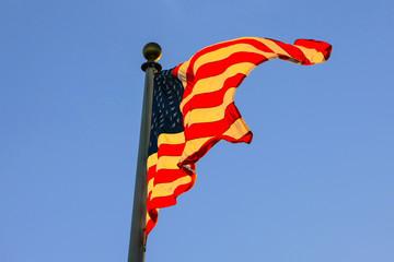 American flag at sunset in Santa Barbara, CA, USA
