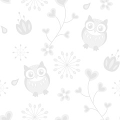 Floral ornament with owl and hearts in retro style for postcards, backgrounds, children illustrations. Grey on a white background.