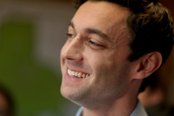 Democratic candidate Jon Ossoff is interviewed by news organizations as he campaigns for Georgia's 6th Congressional District special election in Chamblee, Georgia