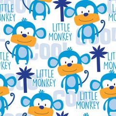 seamless colorful monkey pattern vector illustration
