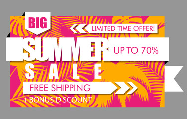 Summer sale banner with tropical exotic palm leaves and plant orange and pink background. Vector bright floral design white text limited time offer, free shipping, bonus discount, up to 70 percent