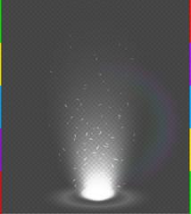 White glow rays night scene with sparks on transparent background rainbow. Empty light beam effect podium. Magic fantasy portal. Futuristic source energy splash explosion