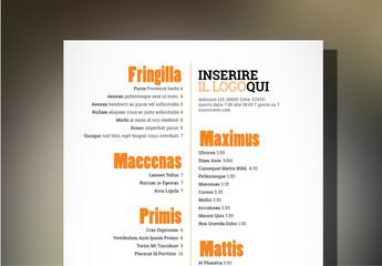 Layout menu ristorante tapas