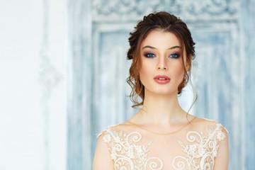 Fashion portrait of a beautiful bride