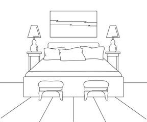 Linear sketch of an interior. Sketch line bedrooms. Bed, two stools, two lamps and a picture above the bed. Vector illustration.