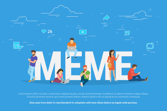Meme concept vector illustration. Flat design of young people using mobile gadgets such as laptop, tablet pc and smartphone for meme reposting in social network, reading news and publishing new trends