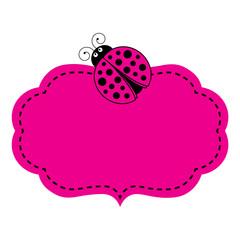 Vector Pink Frame with Ladybug Image. Vector frame.
