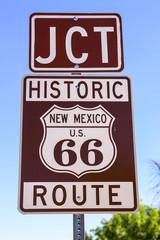 Historic Route US 66 signpost in Tucumcari New Mexico, USA