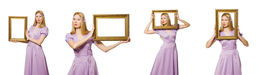 Woman with picture frame on white