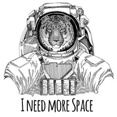 Wild cat Leopard Cat-o'-mountain Panther wearing space suit Wild animal astronaut Spaceman Galaxy exploration Hand drawn illustration for t-shirt