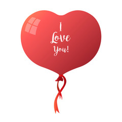 Heart balloon isolated on white background. The inscription on the ball: I love you. Vector illustration.