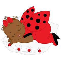 Vector African American Cute Baby Girl in Ladybug Costume Sleeping on Pillow.