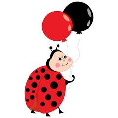 Vector Cute Ladybug with Balloons. Vector ladybug.