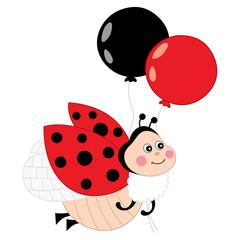 Vector Cute Ladybug Flying with Balloons. Vector ladybug..