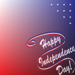 Background image for a greeting card by July 4 with the inscription Happy Independence Day. Red, white and blue colors and stars are links to the USA flag