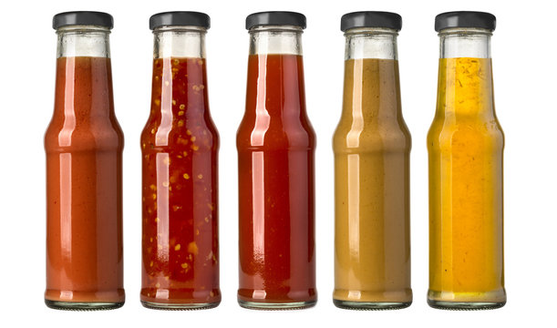 barbecue sauces in glass bottles