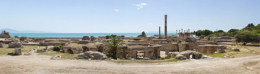 panoramic view to old ruin and column of Carthage in Tunisia