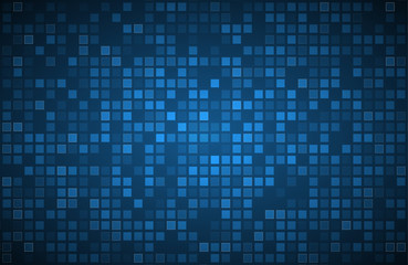 Blue abstract background with transparent squares, vector illustration