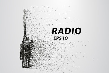 Radio set of the particles. Radio set consists of circles and points. Vector illustration