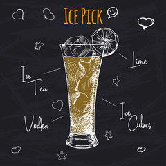 Simple recipe for an alcohol cocktail Ice Pick. Drawing chalk on a blackboard. Vector illustration of a sketch style.