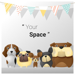 Cute animal family background with dogs , vector , illustration