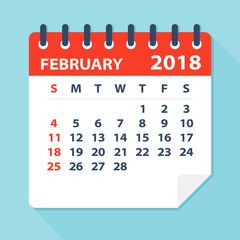 February 2018 Calendar Leaf - Illustration
