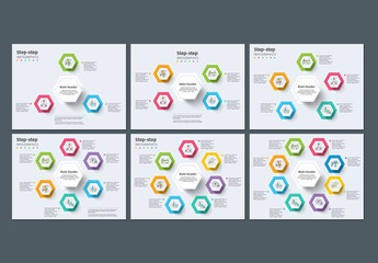 Circular 3-8 Step Infographics with Colorful Icons 1