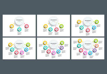 Circular 3-8 Step Infographics with Colorful Icons 3