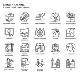 Growth hacking square icons set.