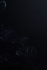 Black Background of smoke without fire and flame