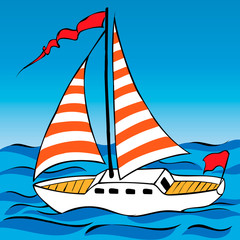 sailing yacht on the waves in the sea. vector illustration